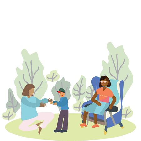 Pregnancy and parenthood concept illustrations. LGBT parenting. Female couple in the park, family activities with kids. Adoption. App, website or Web Page. illustration.