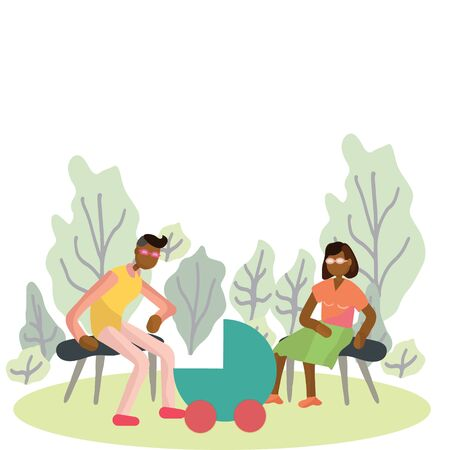 Pregnancy and parenthood concept illustrations. Family activities. Couple with newborn pram in the park. Family weekend. Adoption. App, website or Web Page.  illustration. Illustration