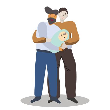 Pregnancy and parenthood concept illustrations. LGBT parenting. Male couple holding a newborn baby, gay couple baby.  Adoption. App, website or Web Page. illustration.