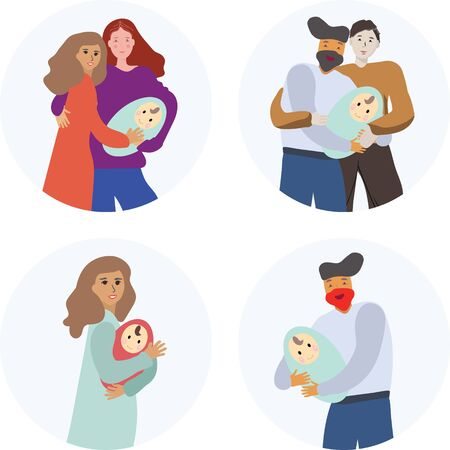 Pregnancy and parenthood concept illustrations. LGBT parenting. Various scenes with pregnant woman, woman holding a newborn baby, man holding a newborn baby, couple expecting couple, parents with a baby. Adoption. App, website or Web Page.  illustration.