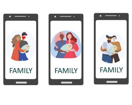 Pregnancy and parenthood concept illustrations. LGBT parenting. Various scenes with woman holding a newborn baby, man holding a newborn baby, parents with a baby. Adoption. Mobiel App, website or Web Page.  illustration. Illustration