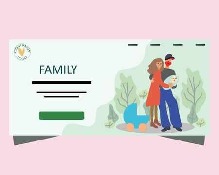 Pregnancy and parenthood concept illustrations. happy family weekend, time together, outdoor activities. Couple holding a newborn baby, parents with a baby. Adoption. App, website or Web Page.  illustration.