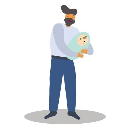 Pregnancy and parenthood concept illustrations. LGBT parenting. Man holding a newborn baby, father with baby. Adoption. App, website or Web Page.  illustration. Illustration