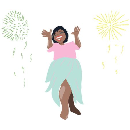 Happy smiling girl celebrating new year, firework explosions. Landing page, template, ui, web, mobile app, poster, banner, flyer.  illustration