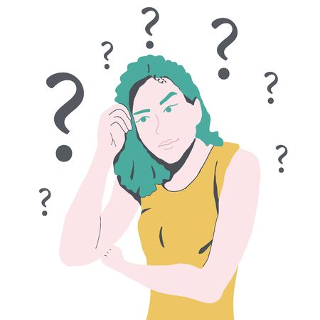 Confused woman thinking, question marks  illustration.