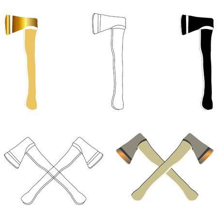 Insieme dell'icona di ascia su priorità bassa bianca. Lancio dell'ascia, sport da boscaiolo, logo, viaggio icona.