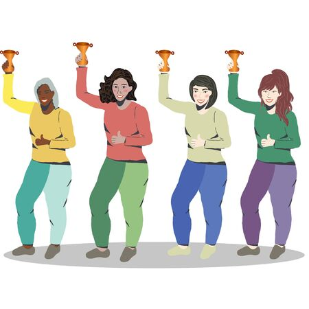 Successful  female Business People Team Winners with gold trophy. gender concept. White background. Stock Illustratie