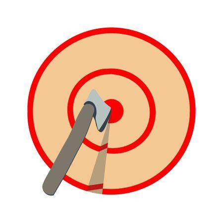 Axt im Ziel auf weißem Hintergrund. Axtwerfen, Holzfällersport.