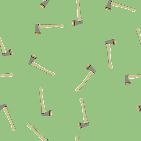 Axe seamless pattern, travel target concept in repeat pattern. Green background. Illustration