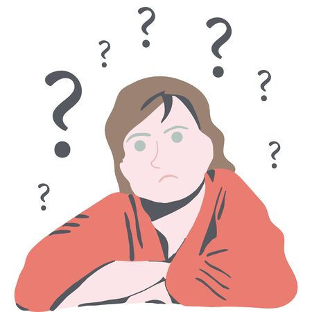 Confused woman thinking. having trouble to find answers. White background.  illustration. Illusztráció
