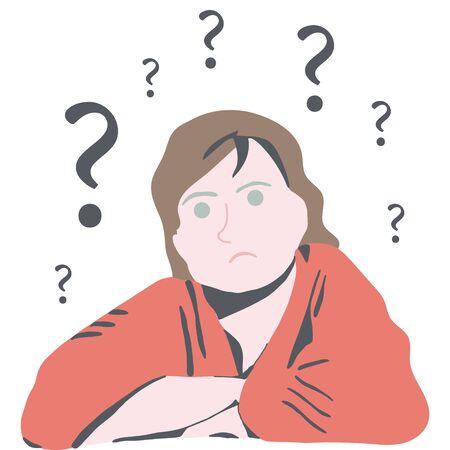 Pensiero confuso della donna. avere difficoltà a trovare risposte. Sfondo bianco. illustrazione.