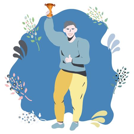 Happy man smiling celebrating win with a gold trophy on blue. Business achievement. Stock Illustratie