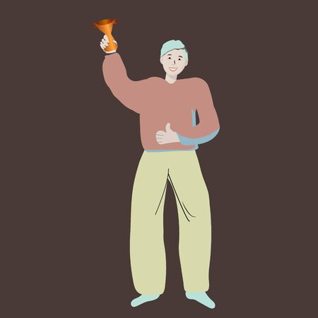 Character man standing with a gold trophy on dark background. Big achievement.  illustration. Illustration