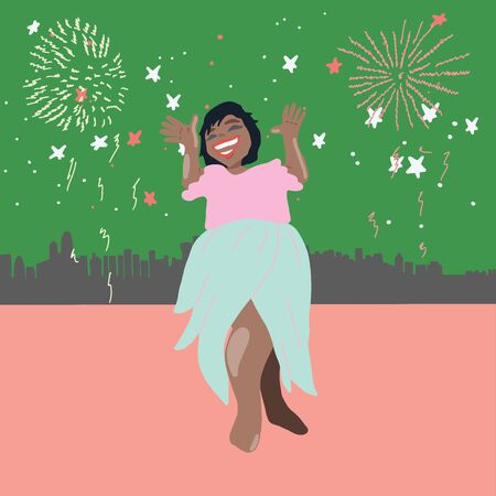 Happy african american woman smiling. Lighting star, fireworks, celebration, festive season.  illustration. Illustration