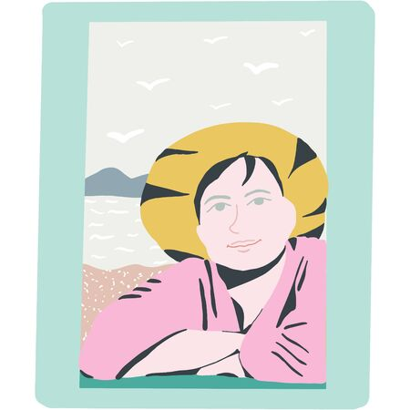Woman near window by the sea. Seaside view. Flat style illustration. Illustration