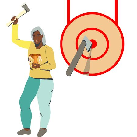 Woman holding a gold trophy, stammding by the target. Winner concept on white.  illustration