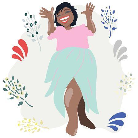 Happy african american woman smiling. Celebration, festive season.  illustration.