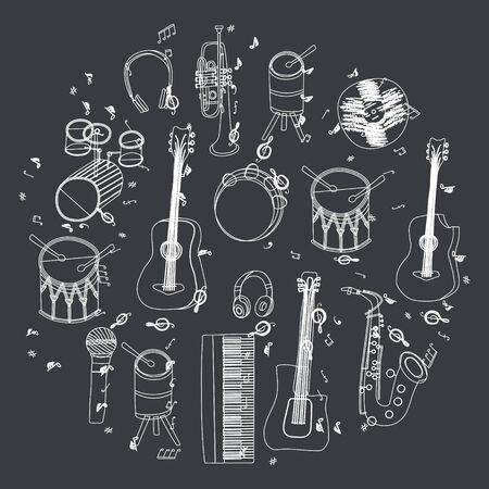 White outline hand drawn musical instruments silhouette in circle shape. Black background.  Illustration. Stock Illustratie