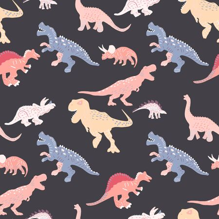 Colourful contrast dinosaurs silhouette seamless pattern on  black background. Cute hand drawn sketch style textile, wrapping paper, background design.