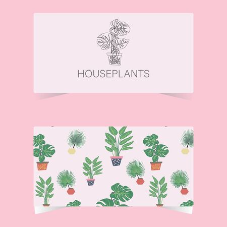 Business card with houseplants tropical leaves and outline icon Philodendron plant. Tropical leaves on background. Postcard, banner, app design.