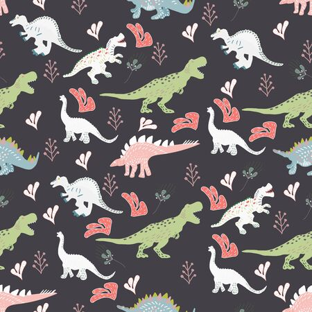 Dinosaurs cute hand drawn seamless  pattern with pink leaves on black background. Cute hand drawn sketch style textile, wrapping paper, background design.