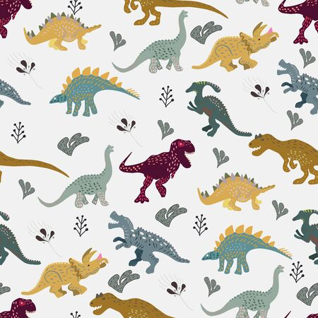 Dinosaurs cute hand drawn seamless pattern.  Cute hand drawn sketch style textile, wrapping paper, background design.