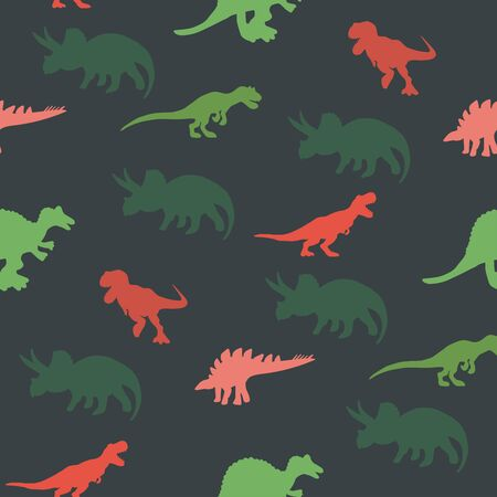 Colourful contrast dinosaurs silhouette seamless pattern on  green colour background. Cute hand drawn sketch style textile, wrapping paper, background design.