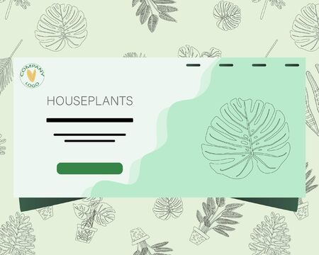 Landing page with tropical leaves black outline pattern background and note houseplants. Postcard, banner, app design. Stock Illustratie
