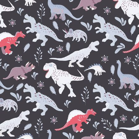Dinosaurs cute hand drawn seamless pattern on black background. Cute hand drawn sketch style textile, wrapping paper, background design.