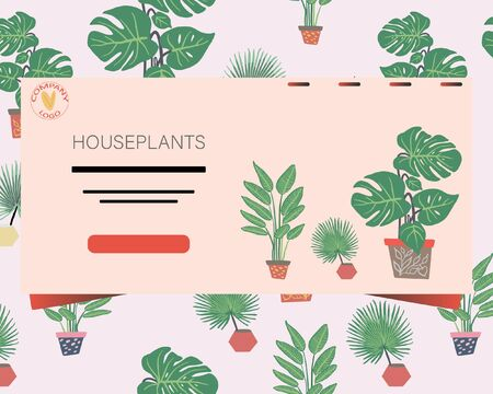 Landing page with houseplants pattern background and note houseplants. Postcard, banner, app design.