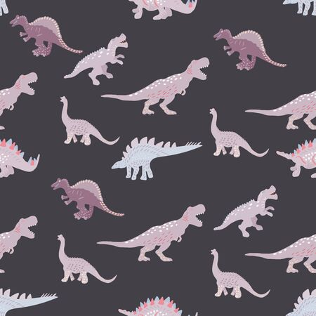 Light pink dinosaurs silhouette seamless pattern on  black background. Cute hand drawn sketch style textile, wrapping paper, background design.