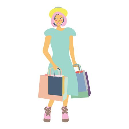 Beautiful asian girl with shopping bags. White background. illustration. Illustration