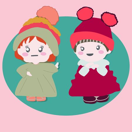 Two cute baby dolls wearing winter outfits. Stock Illustratie