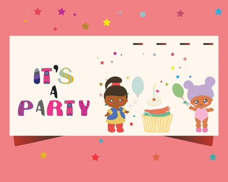 Template party invitation with baby dolls, cupcake. Its a party note. Stock Illustratie