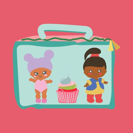 Lunchbox with cute baby dolls and a cupcake. Baby doll party backdrop, birthday party.