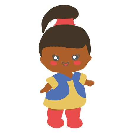 Black baby doll with ponytail on white background. Baby party backdrop birthday party. Illustration