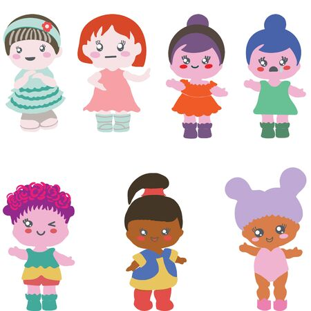 Set of paper dolls in different outfits on white background. Baby shower party, birthday party.