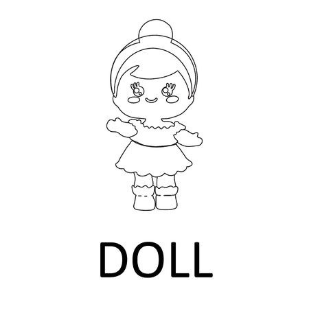 Cute baby doll icon in outline style on white background. Note doll.