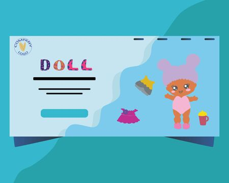 Landing page with baby doll. Lol Doll backdrop. Kids birthday party.