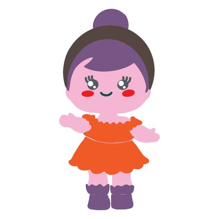 Baby doll wearing orange dress on white background. Baby party backdrop birthday party.