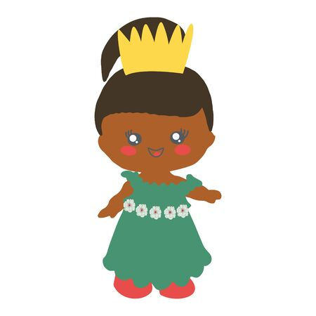 Princess doll wearing gold crown and green dress isolated on white background. Bbirthday party. Stock Illustratie