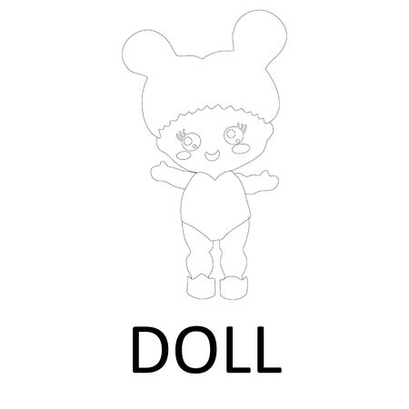 Baby doll icon in outline style on white background. Doll concept. Vector
