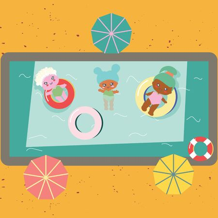 Swimming pool top view with baby dolls in swimming rings. Parasol umbrellas. Birthday pool party. Stock Illustratie