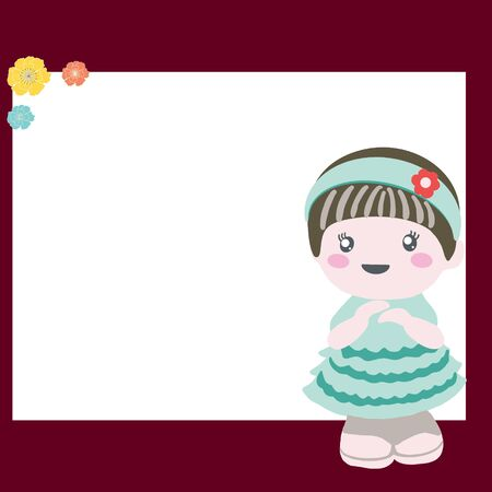 Frame with flower and adorable baby doll. Birthday party. Stock Illustratie