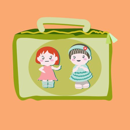 Lunchbox with cute baby dolls. Illustration