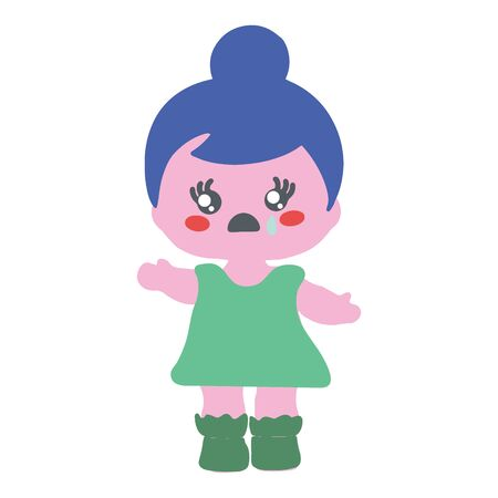 Baby doll with blue hair crying on white background.