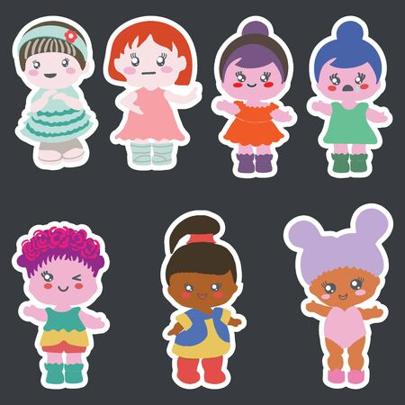 Stickers set of paper dolls in different outfits. Baby shower party, birthday party. Stock Illustratie