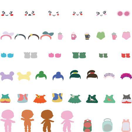 Papierbabypuppe und ihre Outfits. Set Papierbabypuppen mit Kleidung, Haarwechsel, Schuhen. Vektorgrafik