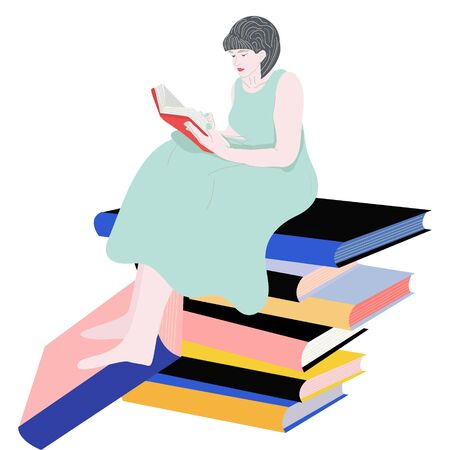 People and  books. Girl sitting on a pile of books and reading one. Read books. illustration.