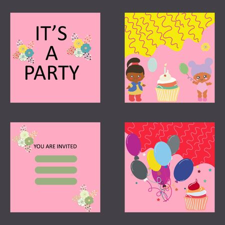 Baby party card template. Balloons, cupcake and baby dolls. Its a party note.